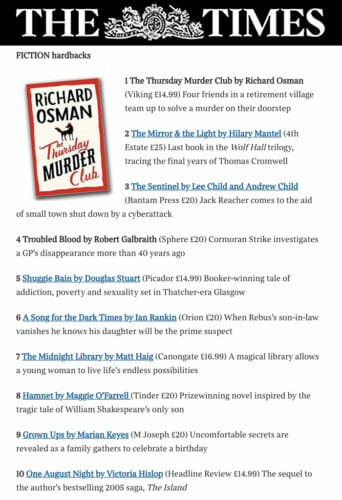 Sunday Times Bestsellers 2020